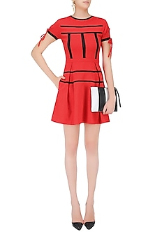 Red Stripe Print Pleated Skater Dress by Ash Haute Couture