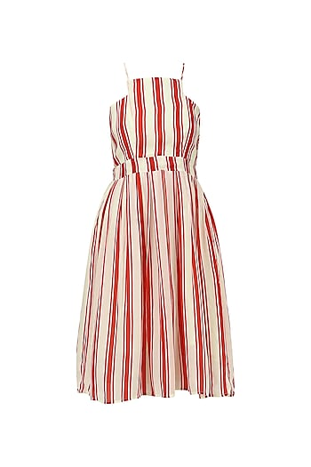Red and White Striped Skater Dress by Ash Haute Couture