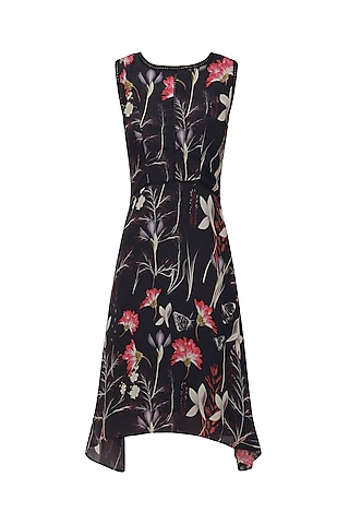 Black Sleeveless Feather Print Dress by Ash Haute Couture