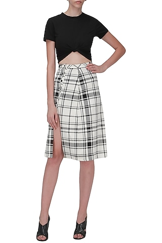 White and Black Trimmed Skirt by Ash Haute Couture
