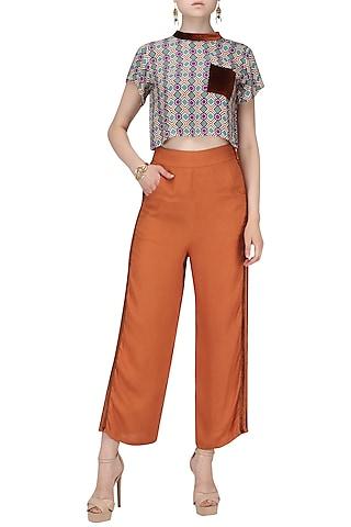 Dark Orange Striped Trousers by Ash Haute Couture