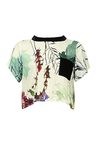 White Floral Print Crop Top by Ash Haute Couture