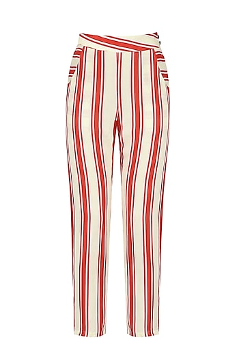 Red and White Striped Trouser by Ash Haute Couture