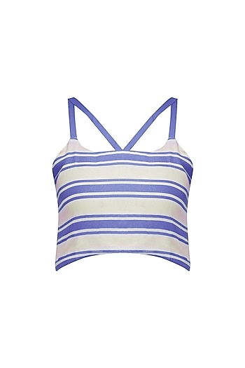 Blue and White Striped Crop Top by Ash Haute Couture