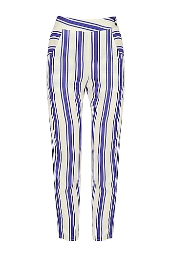 Blue and White Striped Trouser by Ash Haute Couture