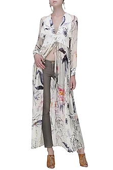 White Floral Front Open Tunic by Ash Haute Couture