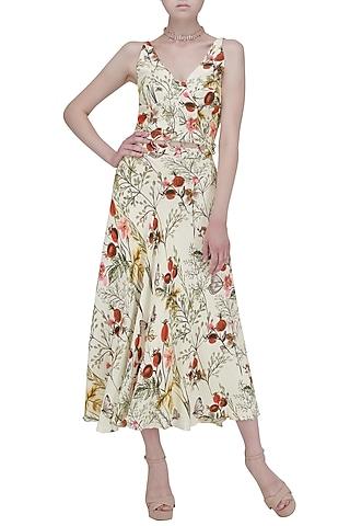 White Cut-Out Waist Maxi Dress by Ash Haute Couture