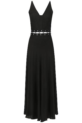 Black Cut-Out Waist Maxi Dress by Ash Haute Couture