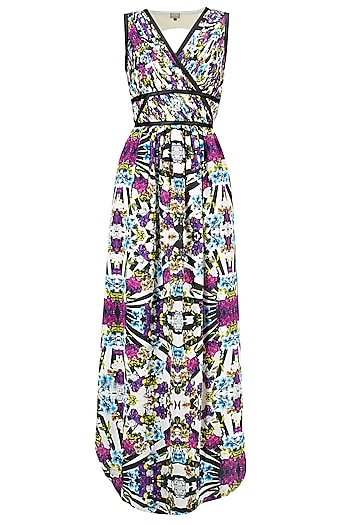 Abstract print pleated maxi dress by Ash Haute Couture