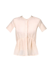 Peach Pleated Peplum Top by Ash Haute Couture