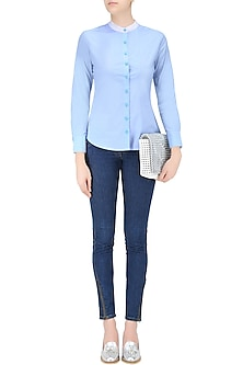 Avery Blue Button Down Full Sleeves Shirt by Ash Haute Couture