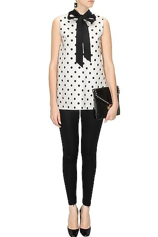 White & Black Polka Dot Printed Top by Ashish Soni