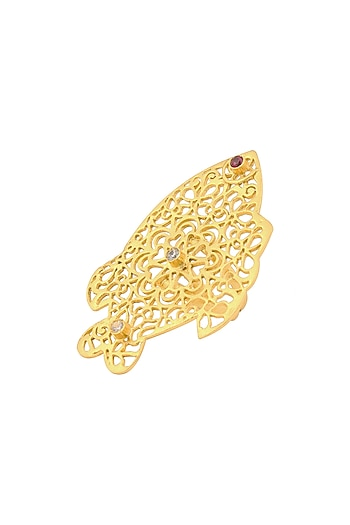 Gold Plated Mashrabiya Fish Ring by Astha Jagwani