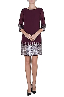 Maroon sequins embellished dress by Attic Salt