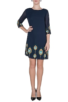 Navy blue embellished dress by Attic Salt