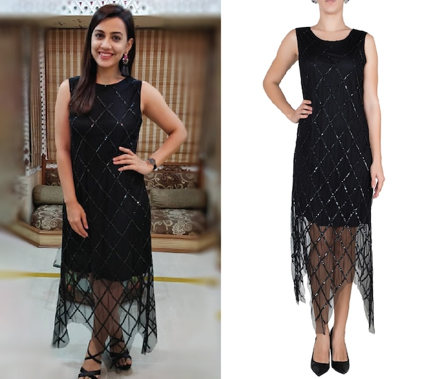 Black embellished handkerchief dress by Attic Salt