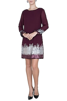 Maroon embellished dress by Attic Salt