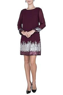 Maroon embellished dress by Attic Salt