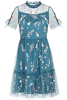 Blue embroidered tulle dress by ATTIC SALT