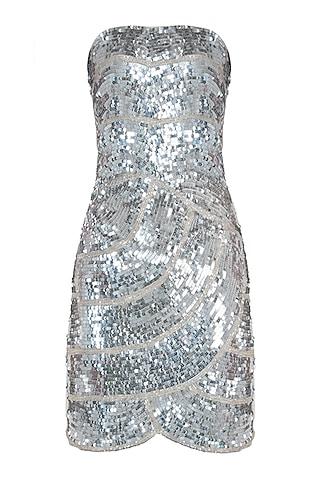 Silver strapless bustier by ATTIC SALT