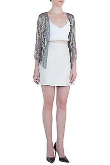 Grey embroidered tulle shrug by ATTIC SALT