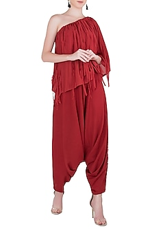 Burnt Red Dhoti Pants by Asmita Marwah