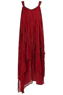 Burnt Red Asymmetrical Layered Dress by Asmita Marwah