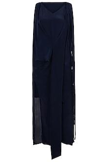 Indigo Blue Asymmetrical Drape Dress by Asmita Marwah