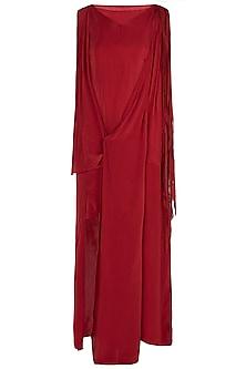 Burnt Red Asymmetrical Drape Dress by Asmita Marwah