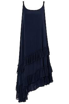 Indigo Blue A-Line Dress by Asmita Marwah