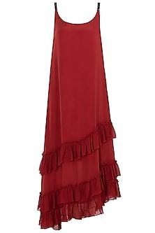Burnt Red A-Line Dress by Asmita Marwah