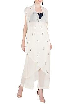 Off White Asymmetrical Wrap Dress by Asmita Marwah