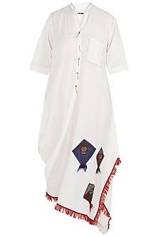 Off White Side Cowl Dress by Asmita Marwah