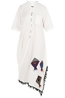Off White Kites Motif Side Cowl Dress by Asmita Marwah