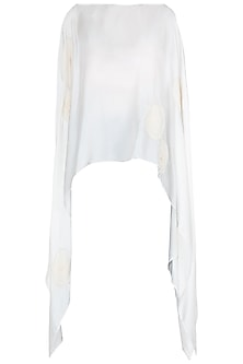White Crushed Voile Flowers Poncho by Asmita Marwah