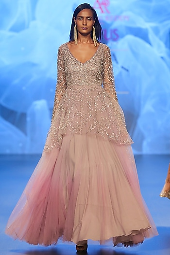 Lilac Embroidered Ombre Gown by Ashwini Reddy