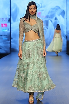 Pastel Turquoise Embroidered Lehenga Set by Ashwini Reddy