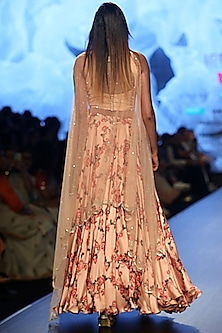 Peach Printed & Embroidered Lehenga Set With Belt by Ashwini Reddy