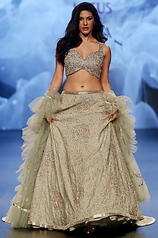 Grey Embroidered Lehenga Set by Ashwini Reddy