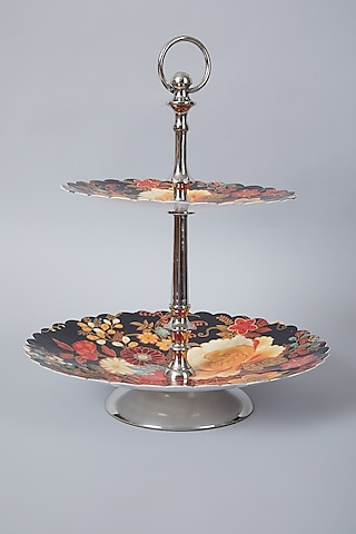Black & Silver Floral Two Tier Cake Stand by Assemblage
