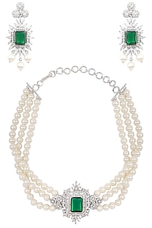 Silver Finish White and Green Zircons and Pearl Strand Choker Necklace Set by Aster