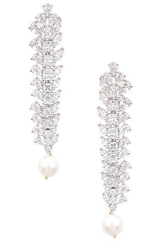Silver Finish White Zircons and Pearl Drop Earrings by Aster