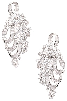 Silver Finish White Zircons Earrings by Aster