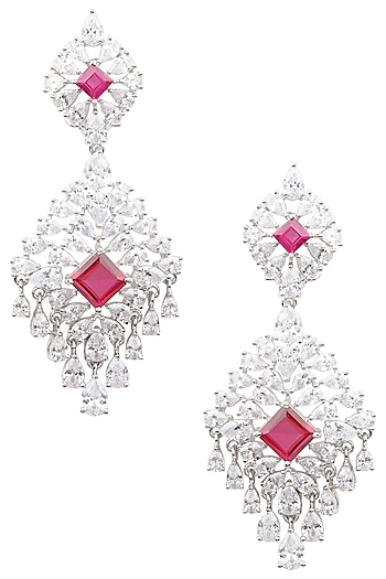 Silver Finish White and Red Zircons Earrings by Aster