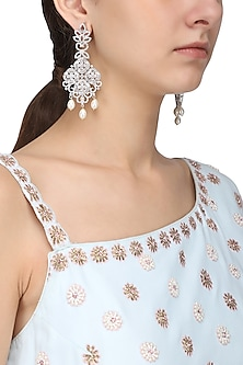 Silver Finish White Zircons and Pearl Earrings by Aster