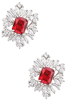 Silver Finish White and Red Zircon Stud Earrings by Aster
