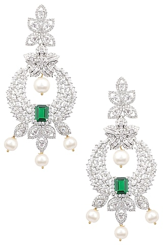 Silver Finish White and Green Zircons and Pearl Drop Earrings by Aster