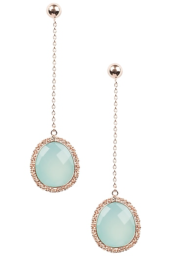 Rose Gold Finish Aqua Chalcedony Earrings by Aster