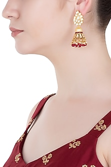 Gold Finish Kundan and Red Beads Jhumki Earrings by Aster