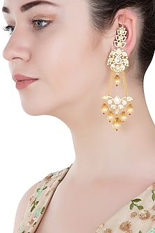 Gold Finish Kundan and Pearls Dangler Earrings by Aster